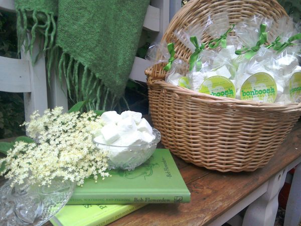 A basket containing bags of elderflower and gin marshmallows and glass bowl containing loose marshmallows on a wooden bench with a green blanket and two green books