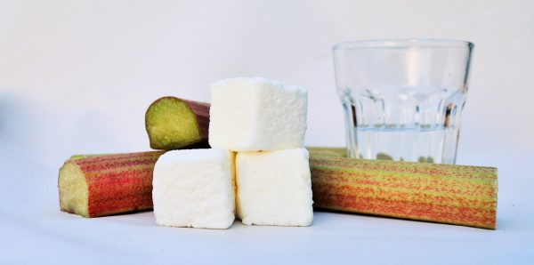 Three marshmallows stacked in front of freshly cut sticks of rhubarb and a glass of gin